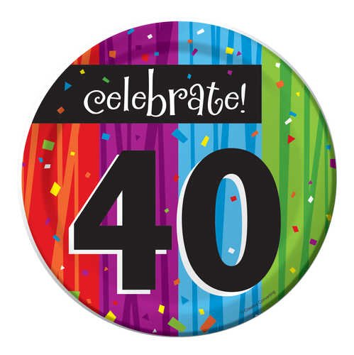 8-Count Round Paper Dessert Plates, Celebrate 40, Milestone Celebrations -