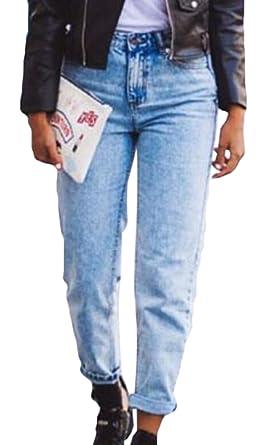 KLJR Women High Waist Loose Fit Straight Leg Jeans Boyfriend ...