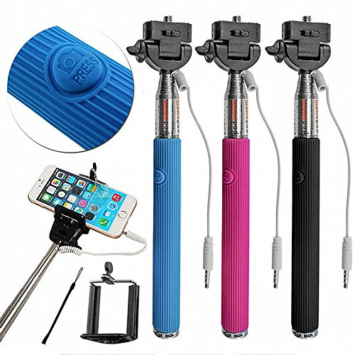 Click to buy Travelocity Connect & Shoot SELFIE STICK With Built-in Selfie Trigger - PURPLE - From only $8.49