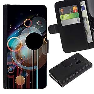 JackGot ( Círculos Disco )Samsung Galaxy S3 MINI i8190 (NOT S3) la tarjeta de Crédito Slots PU Funda de cuero Monedero caso cubierta de piel