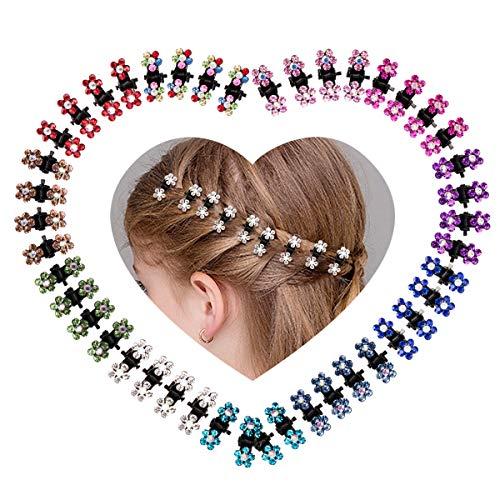(Ondder Baby Girls Hair Claw Clips Crystal Rhinestones Hair Clips Flower Mini Hair Bangs Clip Pin Hair Accessories for Kids Women, 48 Pieces)