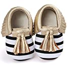 Voberry® Infant Toddlers Baby Boys Girls Soft Soled Tassel Crib Shoes PU Moccasins (0~6 Month, Gold stripe)