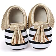 Voberry Infant Toddlers Baby Boys Girls Soft Soled Tassel Crib Shoes PU Moccasins (6~12 Month, Gold stripe)