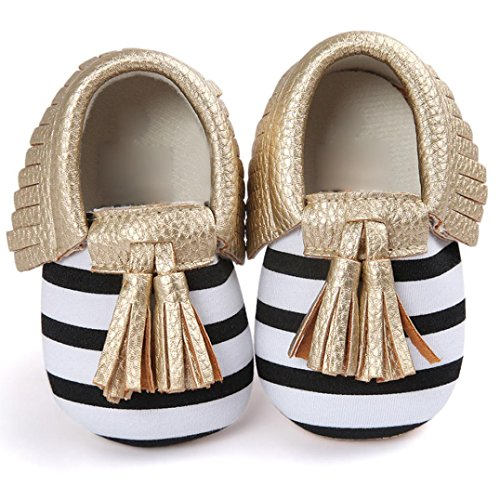 Infant Baby Girl Shoes (Voberry® Infant Toddlers Baby Boys Girls Soft Soled Tassel Crib Shoes PU Moccasins (0~6 Month, Gold stripe))