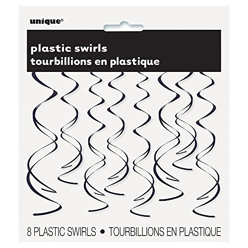 Plastic Hanging Swirl Black Decorations
