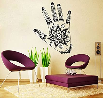 Amazon.com: Mano tatuaje Henna calcomanía decorativo para ...