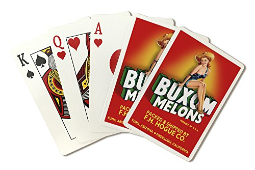Buxom Melons - Pinup Girl - Vintage Crate Label (Playing Card Deck - 52 Card Poker Size with Jokers)