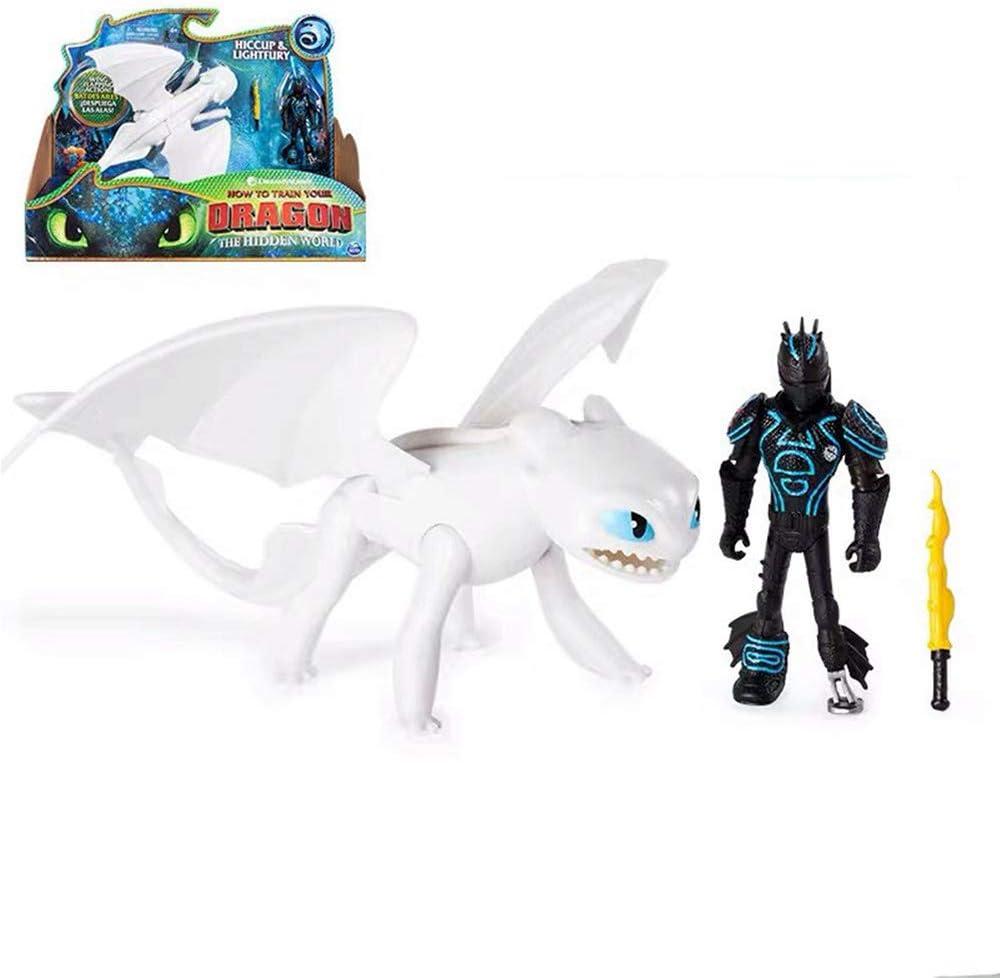 MINGZE Cómo Entrenar a tu dragón Conjunto de Modelos - Dragón Desdentado, Viking Hiccup/Lightfury, Figuras de Juguete para niños Dragon Riders, 4 año(s) Niño/niña (Lightfury and Hiccup)