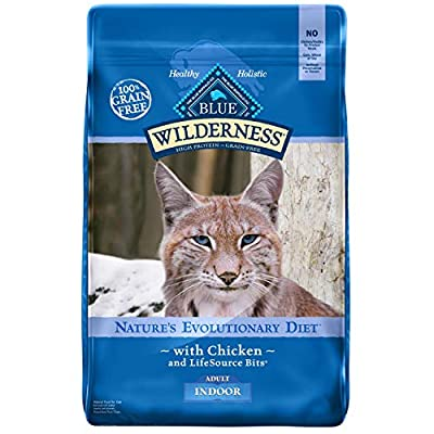 Cat Food Blue Buffalo Wilderness High Protein Grain Free, Natural Adult Indoor Dry Cat Food, Chicken 11-lb [tag]
