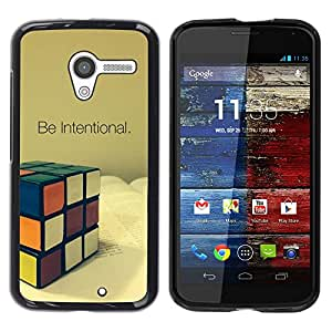 For Motorola Moto X 1 1st GEN I - Be Intentional Rubicks Cube /Caja protectora de pl???¡¯????stico duro de la cubierta Dise???¡¯???¡Ào Slim Fit/ - Super