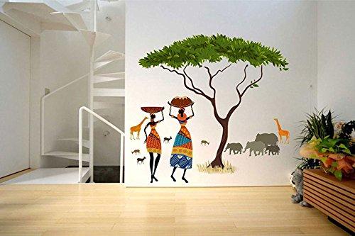 Decals Design 'Artistic Tribal Ladies with Animals Nature' Wall Sticker (PVC Vinyl, 60 cm x 90 cm, Multicolour)