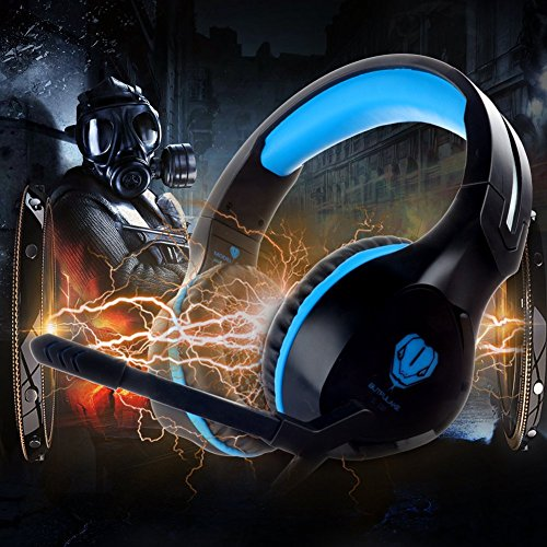 Fenvella Gaming Headset With Mic For PC/PS4/Xbox One Controller/Nintendo Switch 3.5mm Wired Stereo Noise Isolating Over Ear Headphones With LED Light Volume Control For Ipad/Laptop/Mobile Devices Blue by Fenvella (Image #6)