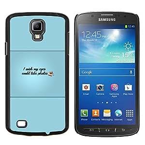 KLONGSHOP // Cubierta de piel con cierre a presión Shell trasero duro de goma Protección Caso - Ojos podría tomar Fotos - Samsung Galaxy S4 Active i9295 //