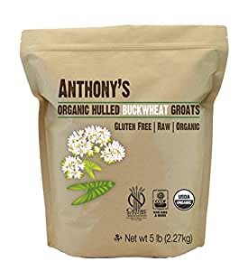 Organic Raw Hulled Buckwheat Groats (5lb) by Anthony's, Grown in USA, Gluten-Free