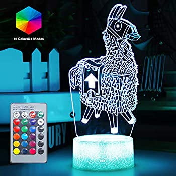 Remote Controlled 3D Nightstand Lights 16 Colors Changeable Optical Illusion Night Light Bedroom Game Room Decor Birthday Festvial Party Gifts Gift Ideas for Boys Girls Child Kids Teen(Llama(Remote))