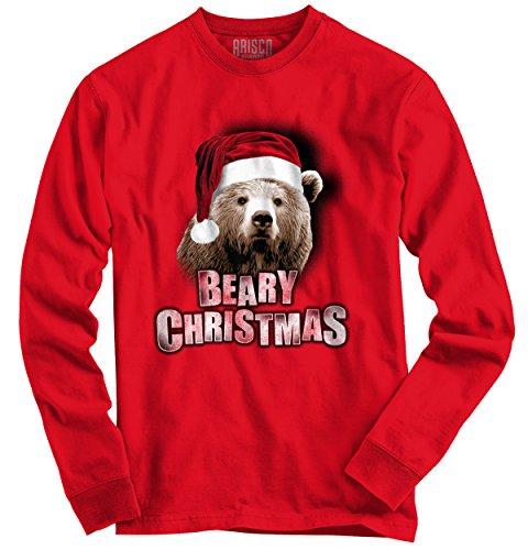 Beary Christmas Trendy Cool Fashion Funny Bear Christmas Long Sleeve Tee (Christmas Beary)