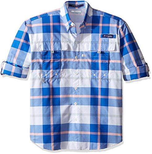 Columbia Sportswear Mens Super Bahama Long Sleeve Shirt, Vivid Blue Multi Plaid, Large