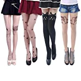 HDE Tattoo Stockings Printed Pantyhose Solid Footed Tights Assorted Designs 4 Pk