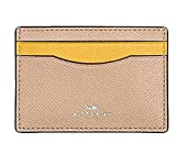 Coach Colorblock Crossgrain Leather Card Case F86927 Beechwood Banana