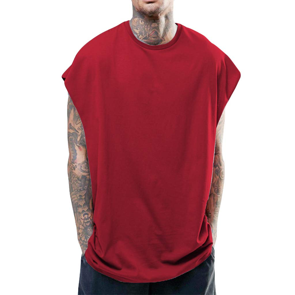 ZOMUSAR Men's Summer Casual Fashion Hip Hop Style Pure Color Sports Sleeveless Vest Tops Mens Tank Tops Red