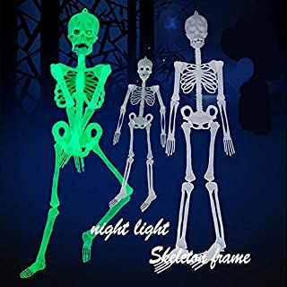 WSIWEIL 32CM Luminous Skull Skeleton Body Scary Halloween Toy Haunted House Tricky Prop Halloween Party Decoration Props Kids Toy (White)