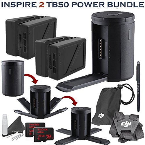 DJI Inspire 2 TB50 Platinum Accessory Bundle: Includes 4x TB50 Batteries (4820mAh )w/ Inspire 2 Charging Hub, Remote Controller Strap, 2x 128GB MicroSD Cards and more... by eDigitalUSA