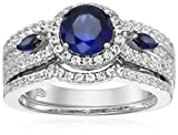 Sterling Silver Fancy Framed Round Gemstone Engagement Ring Set, Size 7