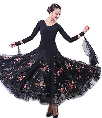 代引き人気 garuda 社交ダンス ドレスダンス衣装 スカート花柄飾り 長袖 サイズオーダー可能 ブラック B075CDF9CW サイズXL garuda B075CDF9CW サイズXL, ヒガシマツヤマシ:0e8a2d95 --- a0267596.xsph.ru