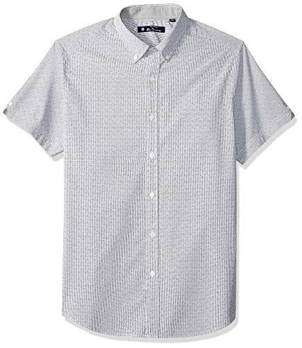 Ben Sherman Men's SS Mini Check Dobby Shirt, White S