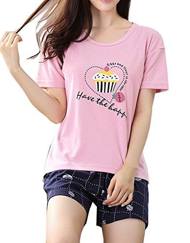 Vopmocld Big Girls' Cute Cup Cake Sleepwear Casual Summer Heart Shape Pajama (Cute Christmas Pajamas For Girls)