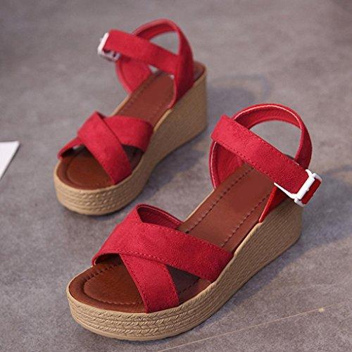 Webla Mujeres Verano Cruz Correa Flip Flops Sandalias Wedge Sandalias Plataforma Zapatos de playa Rojo