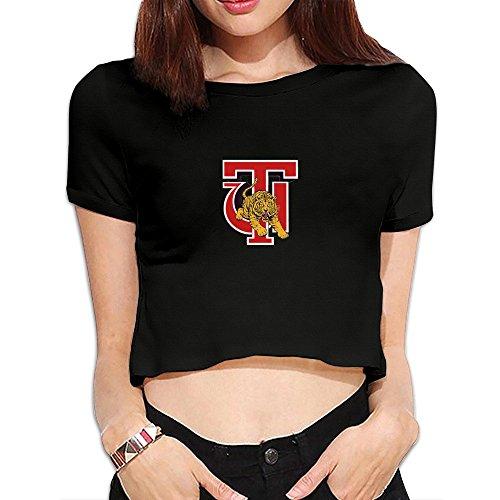 Women's Tuskegee Golden Tigers Crop Top T-shirt Black