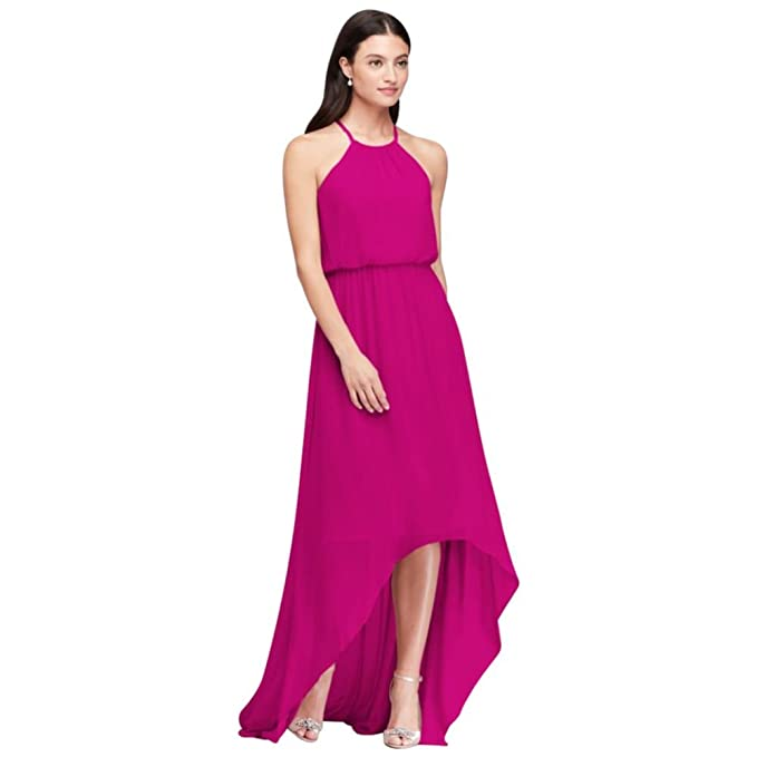 David\'s Bridal High-Low Chiffon Halter Bridesmaid Dress Style F19740 ...