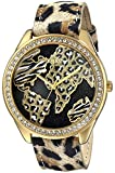 GUESS Women's U0504L2 Animal Print Gold-Tone Watch with World Map