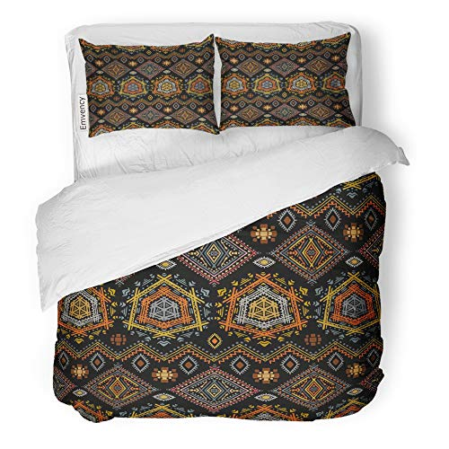 Emvency Decor Duvet Cover Set Twin Size Colorful Ethno Ethnic Boho Repeatable Tribal Design Abstract African 3 Piece Brushed Microfiber Fabric Print Bedding Set -