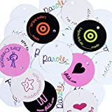 Wunderlabel Personalized Custom Customize Round Hang Tag Paper Crafting Art Fashion Classic Ribbon Ribbons for Clothing Sewing Sew on Clothes Garment Fabric Material Tags, 50 Labels