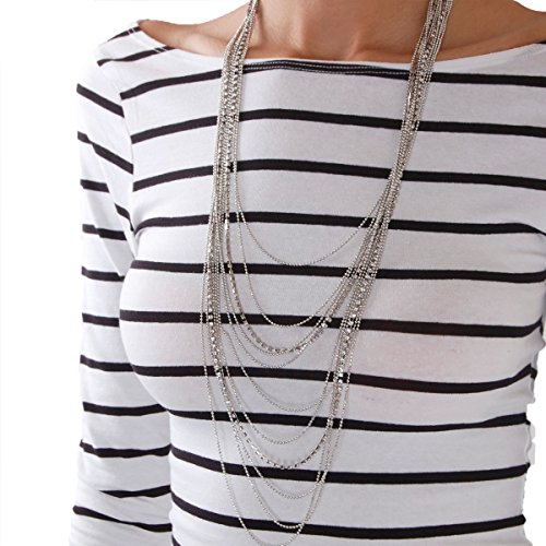 Humble Chic Waterfall Jewel Long Necklace Multi-Strand Statement CZ Rhinestone Chains, Silver-Tone by Humble Chic NY (Image #5)