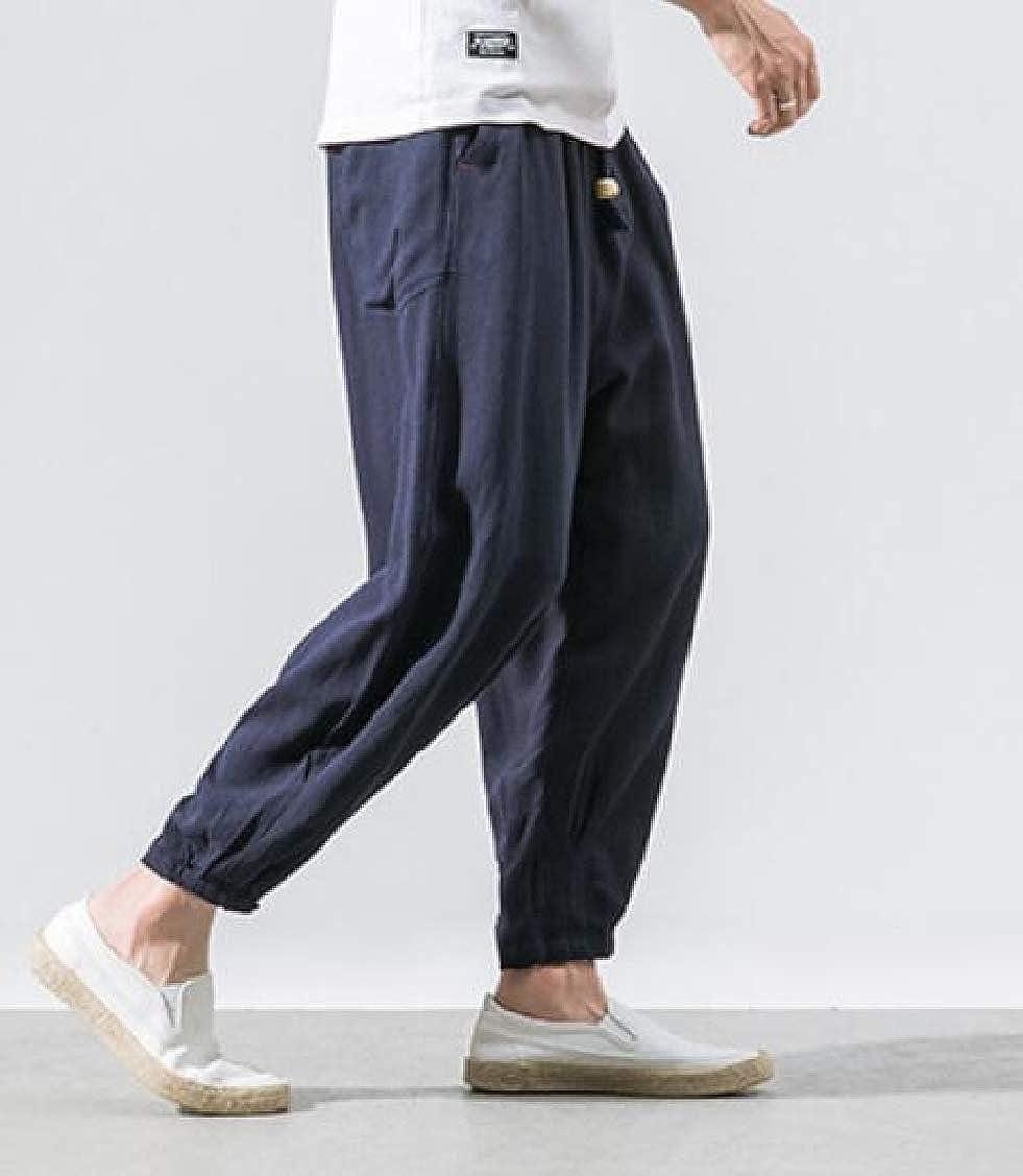 pipigo Mens Lantern Pants Jogger Elastic Waist Harem Chinese Style Pants