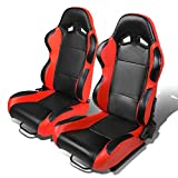 Set of 2 Universal Type-R PVC Leather Reclinable Racing Seats w/Sliders (Black Body/Red Side)
