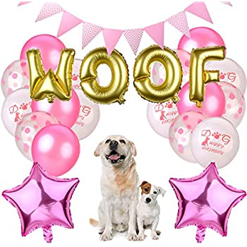 KREATWOW Dog Party Decorations Woof Balloons Walking Hats For Puppy Birthday