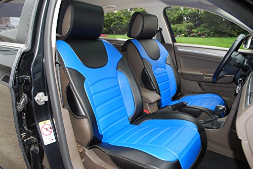 180207 Black/blue-2 Front Car Seat Cover Cushions Leather Like Vinyl, Compatible to Nissan Altima 370Z Armada Frontier Juke Leaf March Maxima Pathfinder Rogue Quest Sentra Tiida Versa X-Trail