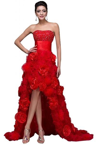 Sunvary exquisito parte Pageant rojo alta baja Organza de flores vestidos Prom Fiesta para Las mujeres