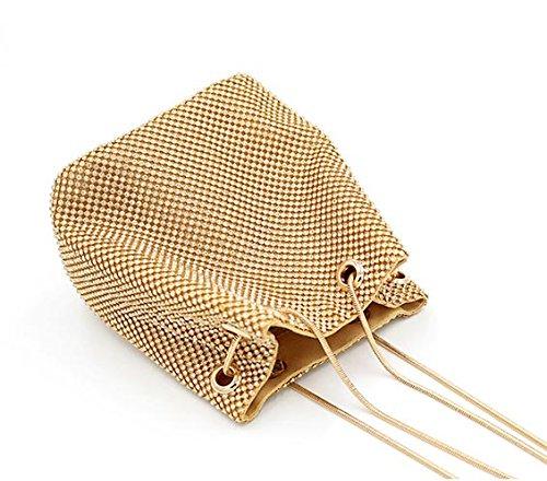 Clutch Crystal Gold ZAKIA Luxury Bags Rhinestone Women' Evening 6qqAE7T