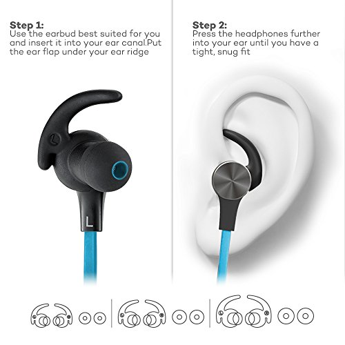 Large Product Image of Bluetooth Headphones, TaoTronics Wireless 4.2 Magnetic Earbuds, Snug Fit for Sports with Built in Mic TT-BH07 Blue (IPX6 Waterproof, aptX Stereo, 6 Hours Playtime, cVc 6.0 Noise Cancelling Microphone)