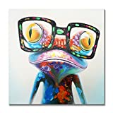 SEVEN WALL ARTS -100% Hand Painted Oil Painting Stretched Framed Happy Frog with Glasses Modern Animal Painting Ready to Hang for Living Room for Home Decor 24 x 24 Inch