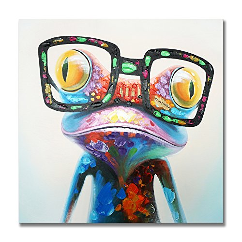 SEVEN WALL ARTS -100% Hand Painted Oil Painting Animal Stretched and Framed Ready to Hang for Living Room (32 x 32 Inch, Happy Frog)