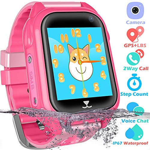 Kids Waterproof Smart Watch Phone Boys Girls - GPS Locator Pedometer Fitness Tracker Smartwatch with 2 Way Call SOS Voice Chat Remote Monitor Alarm Clock Game Camera Sports Wrist Watch Birthday Gift ()