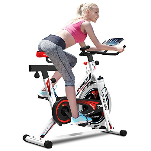HARISON Spin Bikes for Home UseIndoor Cycling Bike with iPad Holder Exercise Bike Fitness Bicycle Stationary Indoor Cycle Trainer with Heart Pulse Sensors for a Fitness Gift