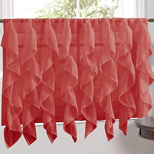Sweet Home Collection Veritcal Kitchen Curtain Sheer Cascading Ruffle Waterfall Window Treatment – Choice of Valance, 24 or 36 Teir, and Kit, Tier Pair Only, Burgundy