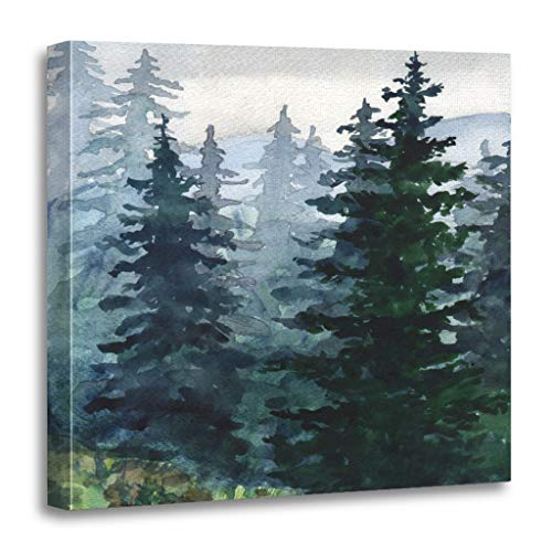 Emvency Painting Canvas Print Wooden Frame Artwork Blue Winter Watercolor Landscape Pine Forest Mountains Alaska Decorative 16x16 Inches Wall Art for Home Decor